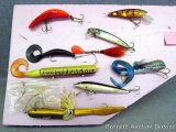 Soft and hard bodied muskie lures up to 12