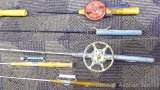 Six ice fishing rods incl. two Normark ELO made in Finland.