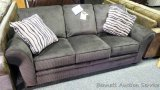 Broyhill queen sleeper sofa with accent pillows. Model 7902-7Q.