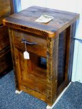 Chequamegon barn wood night stand. Amish built. Model BWI. Matches lots 872 and 873.