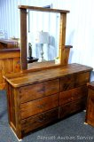 Chequamegon barn wood 6 drawer dresser with mirror. Amish built. Model BW6. Approx. 5' wide.