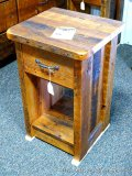 Chequamegon barn wood night stand. Amish built. Model BWI. Matches lots 870 and 872.