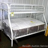 Alco white metal twin/full bunk bed frame. Mattresses not included.  Fits twin on top, full