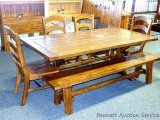 Brooks table with 4 chairs, bench and 2 leaves. Table with leaves is 40