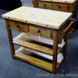 Sunny Design Sedona butcher block stand with 2 drawers and 2 shelves. Model 2178. Approx. 20