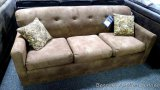 Best Craft queen sleeper sofa with accent pillows, Geranimo Saddle. Model QS2306.