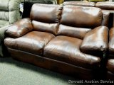 Leather Italia Love Seat, Baron Brown. Matches lots 904, 915 and 916.
