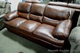 Leather Italia sofa , Baron Brown. Matches lots 904, 905 and 915.