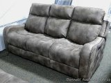 Flexsteel Power reclining sofa with adjustable head rest. Model 1418-62DH/LM-B199-02. Matches lots