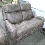 Flexsteel Power reclining love seat with adjustable head rest. Model 1418-60PH/LM199-02. Matches