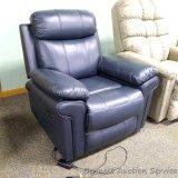 Leather Italia power recliner, joplin blue. Model 1555-EZ17011041LV.