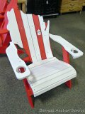 Sunnyside Poly Wisconsin shaped red & white Adirondack deck chair. Amish built. Composite, stainless
