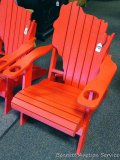 Sunnyside Poly WI-shaped red Adirondack outside chair. Amish built. Composite and Stainless