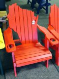 Sunnyside Poly Wisconsin shaped red Adirondack outside chair. Amish built. Composite and stainless
