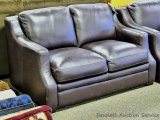 Leather Italia Grandview Loveseat, expresso. Model 1669-6106. Genuine leather and made in USA.