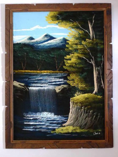 """Vintage waterfall scene painted on velvet by Ana. Measures 29"""" x 39"""" over frame."""