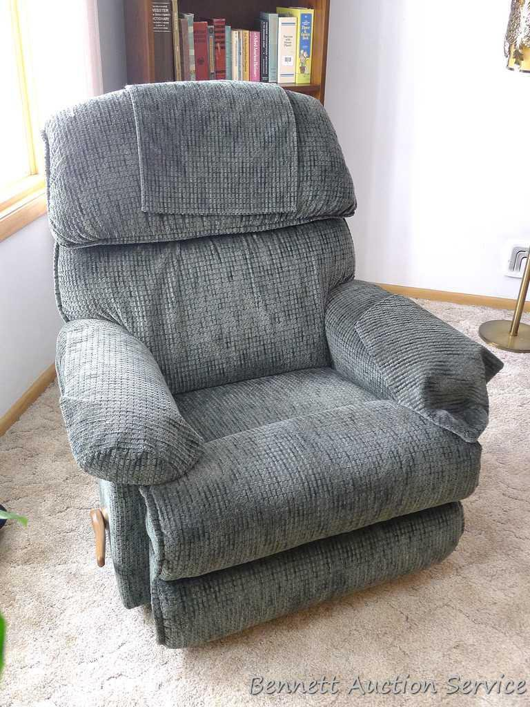 La-Z-Boy rocker recliner in very good condition. Nice sized chair is fairly firm and comfortable.