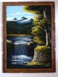 Vintage waterfall scene painted on velvet by Ana. Measures 29