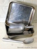 Two Vollrath stainless steel 8x8 pans; Pikes Peak Spade ice cream scoop No. 189; aluminum sugar
