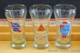 Blatz, Pabst Blue Ribbon, and Old Style beer glasses. Each glass stands 5-1/4