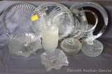 Pretty pressed glass platter with handles; two metal serving trays; pressed glass cake plate,