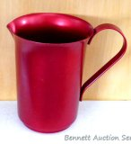 Original retro red aluminum pitcher is in good condition overall with some gunk in bottom of