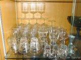 Glassware including shot glasses, beer glasses, stem ware, lots more.