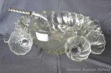 Lovely punch bowl with hanging cups, smaller serving bowl and ladle. Nice set.