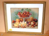 Vintage fruit picture has bright colors after all these years. Wavy, original glass is set in a