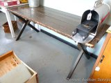 Solid wood picnic table is approx. 6' x 2-1/4' x 2-1/2' tall. Well built and sturdy. See benches in