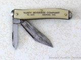 Promotional pocket knife by B&B of St. Paul, Minnesota advertises Tlusty Beverage Co of Medford,