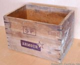 Cool looking wooden crate once held Brazilian roast beef by Armour. One end has U.S. inspected &
