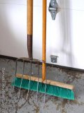 Well made pitch fork with a solid, smooth handle is 5' tall; push broom is nicer than most and has
