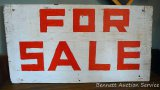 Double sided hand painted sign is 1-1/2' x nearly 3'.