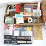 Sewing notions including bias tape, velcro, needle book, hook & eyes, embroidery floss, rick rack,