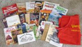 Cookbooks including Not by Bread Alone, cookie cookbooks, Jello, Modern Guide to Pressure Canning &
