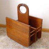 Solid wood magazine rack measures 14