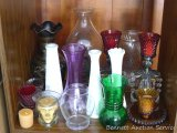 Assorted vases and candle holders as pictured. Brass vase has a tag marked 'IHI Solid Brass Made in
