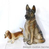 German Shepard and basset hound figures are both marked 'Japan'. German Shepard stands 7-3/4