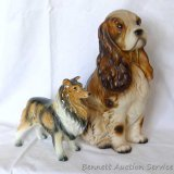 Spaniel and Collie figurines are both in good condition with no chips noted. Spaniel is marked