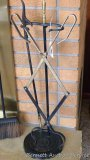 Fireplace accessory set with brass accents includes stand, poker, broom, tongs, scoop. Stands 28