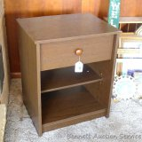 End table with drawer is fairly sturdy and in overall decent shape - front corner trim has been