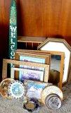 Decorative pieces including collector's bird plate, Yellowstone National Park souvenir, framed