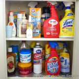 No shipping. Two shelves of full and partial household cleaners including carpet cleaner, all