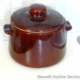 Stoneware bean pot is marked 'USA' and measures 5