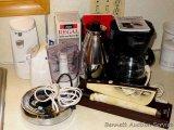 Mr. Coffee 4 cup coffee maker; Hamilton Beach electric knife; Three cup food processor; coffee and