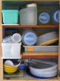 Large Tupperware cake/pie saver, pan, more; Rubbermaid storage containers; pasta keeper, more.