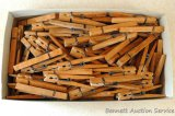 Collection of heavy duty wooden clothespins. Box measures approx. 11