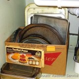 Assorted bread pans, pizza pans, tart pan, pie plates, 9x13 pans, TV trays, round cake pans, more.