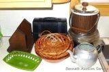 Presto PowerPop popcorn maker; ice bucket; baskets; Aladdin lunch box with thermos; neat looking